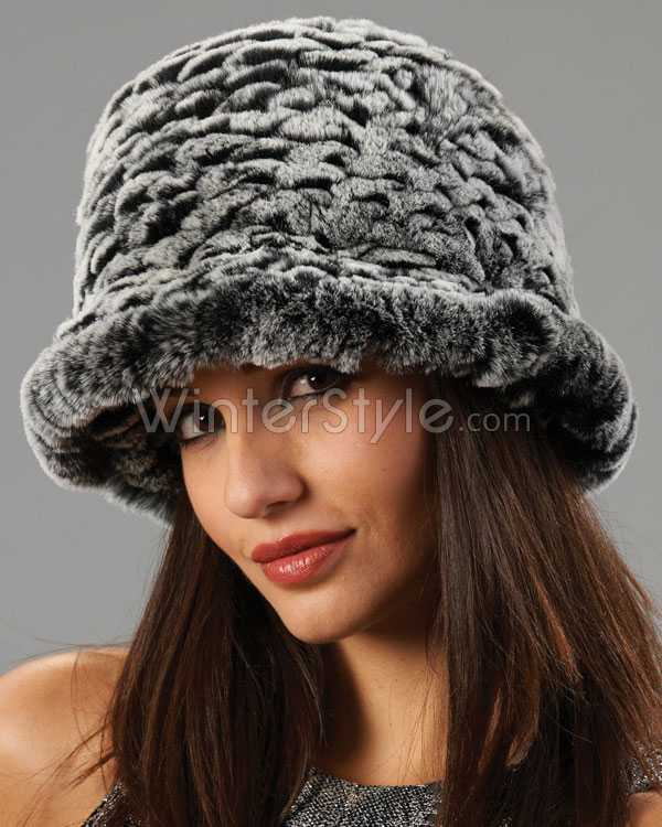 Fox Fur Cuff Winter Hat with Felt Crown - Black